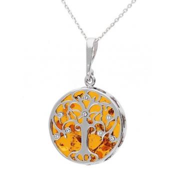Collier arbre de vie en ambre de la Baltique sur argent 925