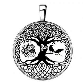 Pendentif arbre de vie avec corbeau et chevalier 15 en 1 argenté