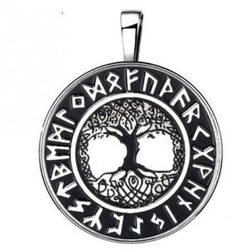 Pendentif arbre à vie talisman nordique 15 en 1 argenté