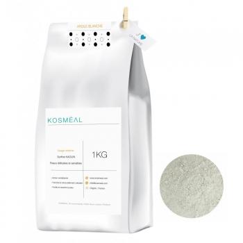 Argile Blanche Surfine 1KG - 100% Pure et Naturelle - Origine FRANCE - Emballage Écologique Papier Kraft Blanc