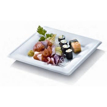 50 assiettes blanches carrées 20 x 20 en canne à sucre  - Gamme KARO -