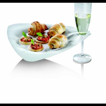 Assiette blanche triangulaire en canne à sucre gamme Trigon.