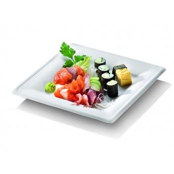 Assiette blanche carrée 20x20 en canne à sucre  - Gamme KARO -