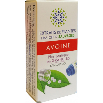 AVOINE Teinture Mère  d'extaits de plantes fraiches granules  Sans Alcool 130 granules Action calmante sur l'énervement et l'agitation et difficulté d'endormissement