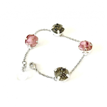 Bracelet artisanal rose et gris en boutons anciens