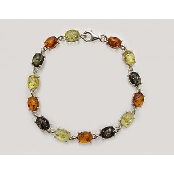 Bracelet goutte en ambre multicolore de la Baltique sur argent 925.