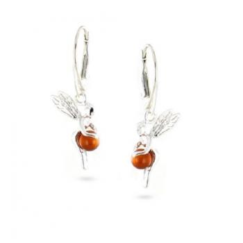Boucles d'oreilles fée de clochette en ambre sur argent 925