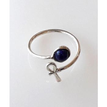 Bague Duo Couture Lapis Lazuli Croix de Vie argent