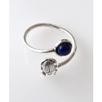Bague Duo Couture Lapis Lazuli Scarabée Equilibre argent