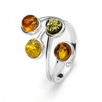 Bague réglable en ambre multicolore en ambre de la Baltique sur argent 925.