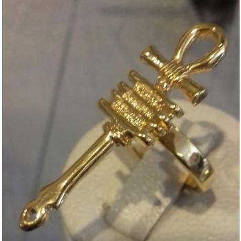 Bague réglable croix de vie ancienne plaqué or