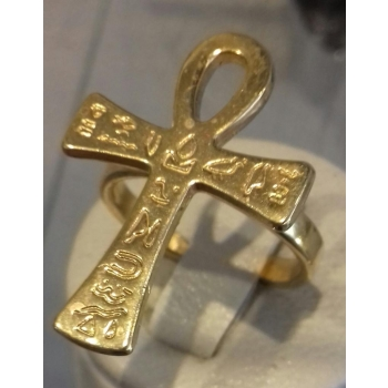 Bague réglable croix de vie récente plaqué or