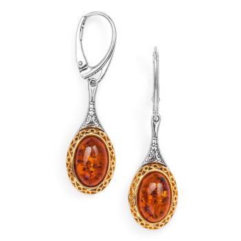 Boucles d'oreilles en ambre cognac sur argent 925 et vermeil.