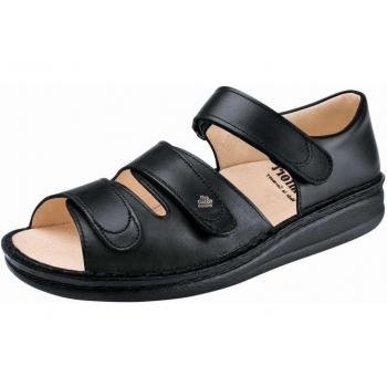 FINN COMFORT Sandale Classic Noir talon 12 mm chaussant large