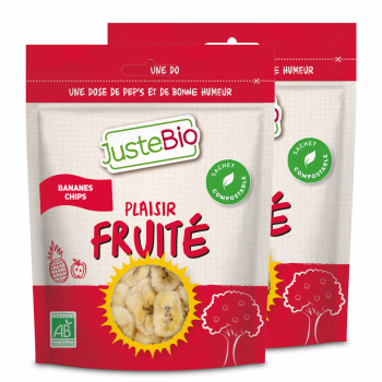 JUSTEBIO - Banane Chips - Lot de 2 sachets de 300g