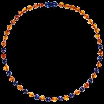 Collier bébé - Ambre et Lapis Lazuli bleu