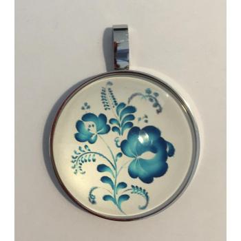 pendentif  fleurs bleu 15 EN 1 Argenté