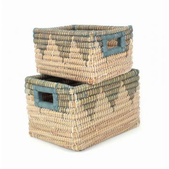 S/2 corbeilles de rangement en herbe de kaisa