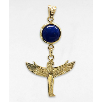 Déesse isis (l'envol) pierre lapis-lazuli plaqué or