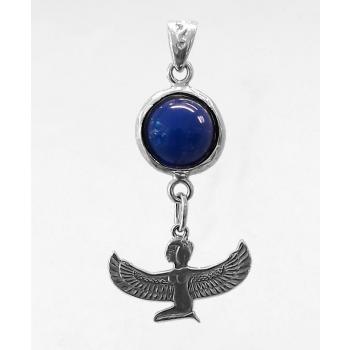 Déesse Isis (méditation) lapis-lazuli argent massif