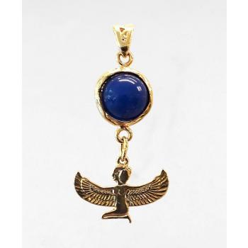Déesse Isis (méditation) lapis-lazuli plaqué or