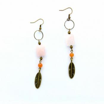 Boucles d'oreilles de quartz rose et agate orange