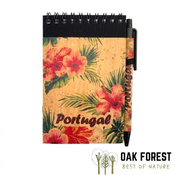 Bloc-Notes & stylo en liège naturel et papier recyclé - Hibiscus