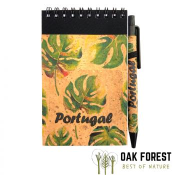 Bloc-Notes & stylo en liège naturel et papier recyclé - Feuilles tropicales