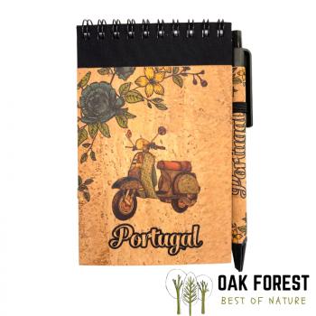 Bloc-Notes & stylo en liège naturel et papier recyclé - Vespa