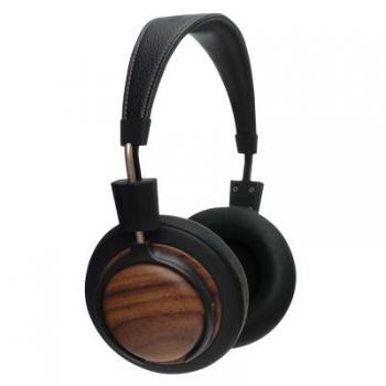 Casque d'écoute format Bloom en bois massif de Noyer récupéré de meuble utilisé, selon le principe de l'upcycling