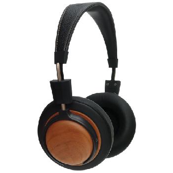 Casque d'écoute format Bloom en bois massif de Cerisier récupéré de meuble utilisé, selon le principe de l'upcycling