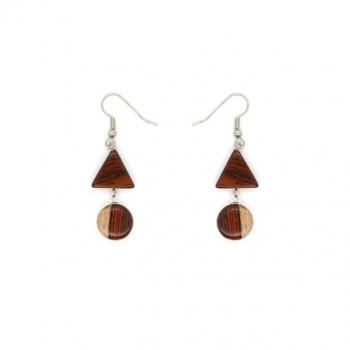 Boucles-d'oreille en bois Acajou et cabochon bicolore