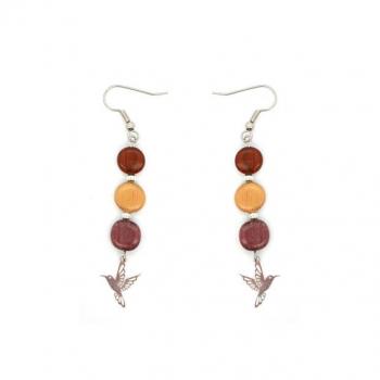 Boucles-d'oreilles pendante en bois multicolore et colibri