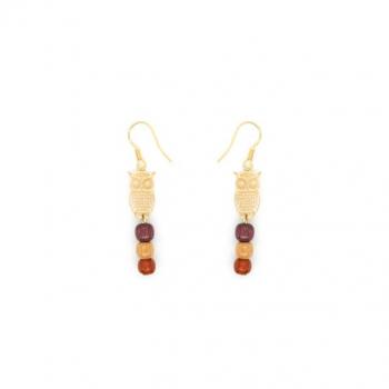 Boucles-d'oreilles pendante en bois serti d'une petite chouette dorée or fin