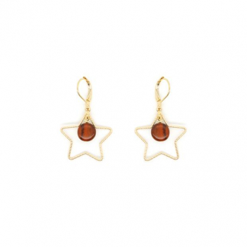 Jolie boucle - d'oreille étoile dorée or fin et sa perle en bois