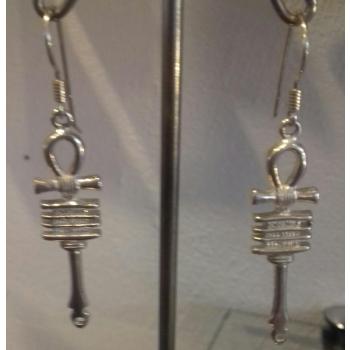 Boucles d'oreilles croix de vie ancienne argent massif