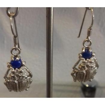 Boucles d'oreilles scarabée et pierre Lapis Lazuli argent massif