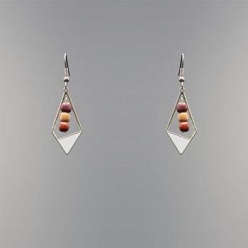 Boucles-d'oreilles perles en bois et triangle argenté