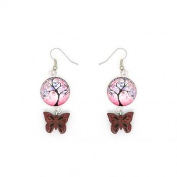 Boucles d'oreilles paillon Amarante et arbre de vie