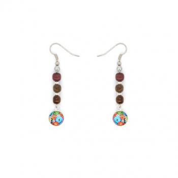Boucles-d'oreilles en bois précieux et cabochon multicolore