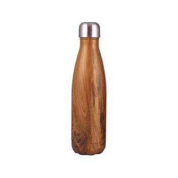 Bouteille isotherme en inox (500ml), motif bois.