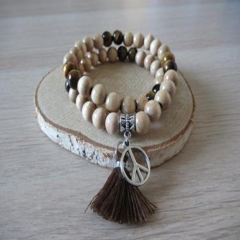Bracelet double rang bois et pierres oeil du tigre