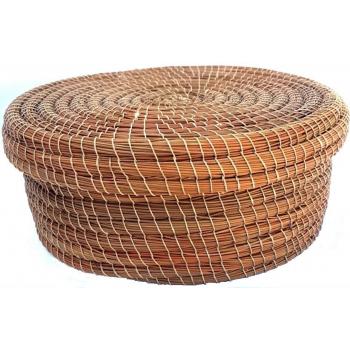 Boite de rangement ronde en fibre végétale (halfa).