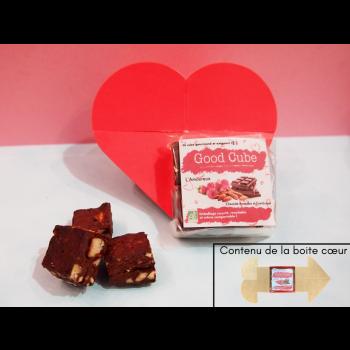 """Brownie aux chocolat, framboises et amandes """"L'Amoureux""""  dans une boite coeur BIO - 20g"""