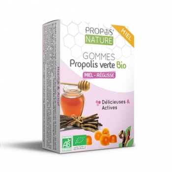 Gommes Propolis Verte BIO, Miel et Réglisse