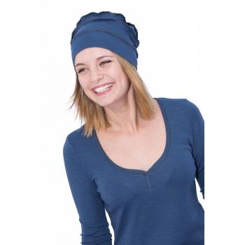 Bonnet Femme recto-verso Merinos COOLMAN bleu jean 210