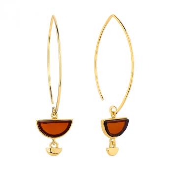 Boucles d'oreilles ambre sur vermeil
