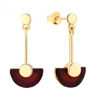 Boucles d'oreilles ambre cerise sur vermeil.
