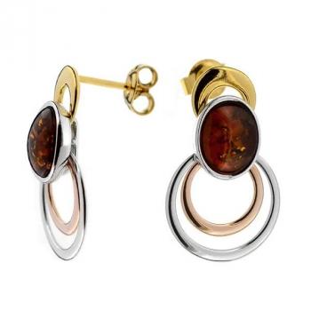 Boucles d'oreilles ambre sur argent rhodié et vermeil.