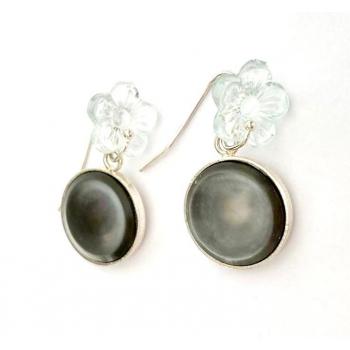 Boucles d'oreilles artisanales Anémones en boutons anciens